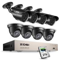 ZOSI 8CH 1080P Security Camera System HD-TVI Video DVR Recorder with (8) 2.0MP Bullet and Dome Weatherproof CCTV Cameras 2TB Hard Drive,Motion Alert, Smartphone, PC Remote Access
