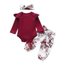 Baby Girl Clothes Newborn Outfits Infant 3Pcs Romper + Floral Pants + Headbands