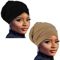 GABraden African Head Wraps Turban For Women Women' Soft Stretch Headband Long Head Wrap Scarf (2#Black+Brown)