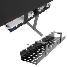 FLEXISPOT Under Desk Cable Management Tray, Metal Raceway Wires Cable Tidy Organizer, Office and Home Cable Tray Use for Standing Desk (Black)