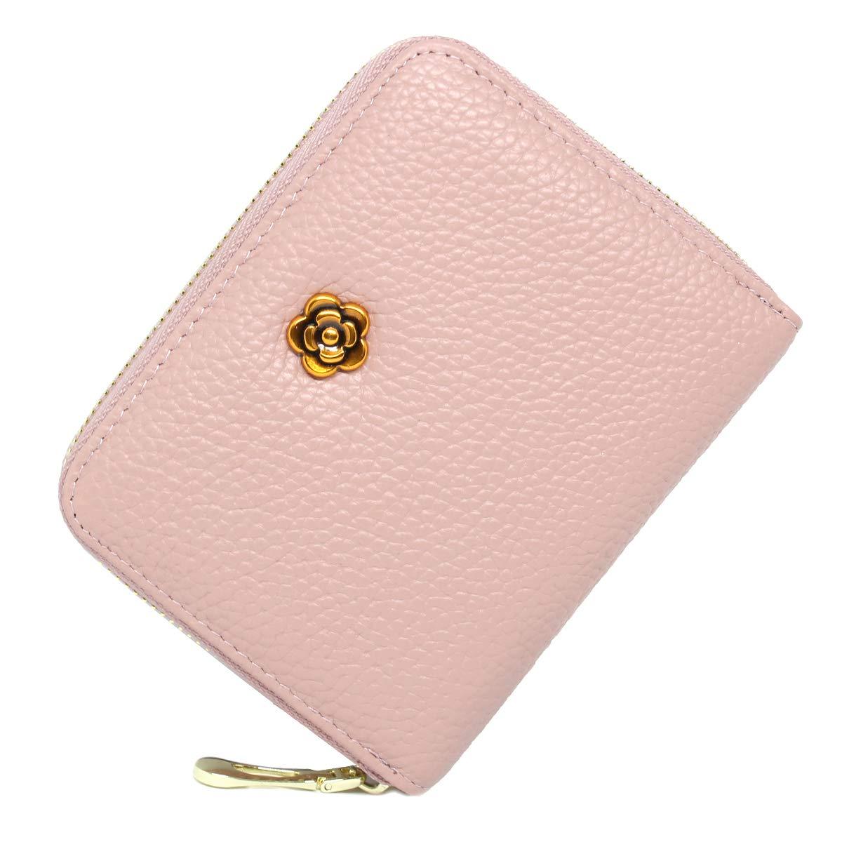 imeetu Women RFID Card Holder, Leather Wallet Card Case Organizer,M(Pink)