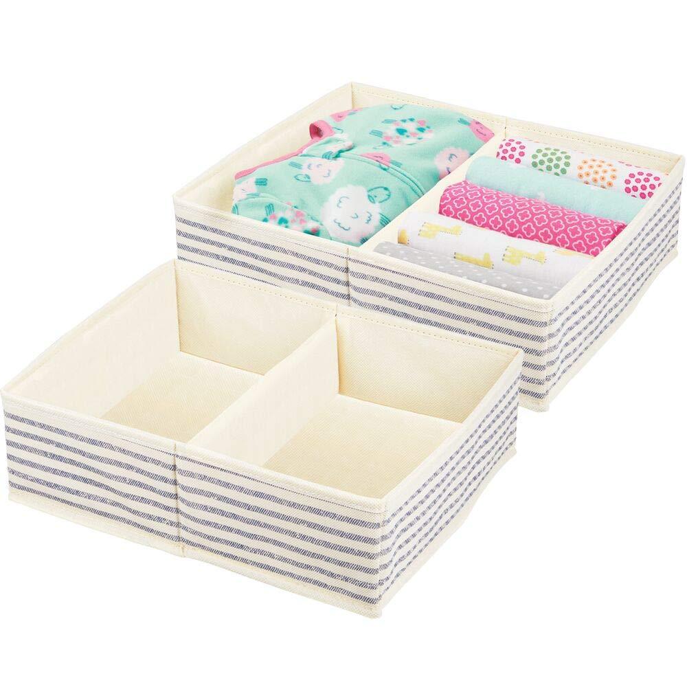 mDesign Soft Fabric Dresser Drawer and Closet Storage Organizer Set for Baby Room/Nursery, Child, Kids, Girls, Boys Clothes - 2 Section Organizer - 2 Pack - Natural/Cobalt Blue