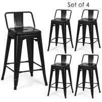 COSTWAY Metal Bar stools Set of 4, with Removable Back, Cafe Side Chairs with Rubber Feet, Stylish and Modern Chairs, for Kitchen, Dining Rooms, and Side Bar (Black, 24'')