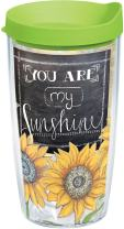 Tervis 1177254 Sunshine Sunflowers Tumbler with Wrap and Lime Green Lid 16oz, Clear