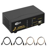 CKLau 4090x2060@60Hz Ultra HD HDMI KVM Switch 2 Port with Cables Support Support HDMI 2.0, HDCP 2.2, HDR 10, EDID