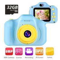"""VATENIC Kids Camera Children Digital Cameras Toys 1080P 2.0"""" HD Toddler Video Recorder Great Birthday Gifts for Kids Gifts for 3-10 Year Old Boys Girls with 32GB SD Card (Blue)"""