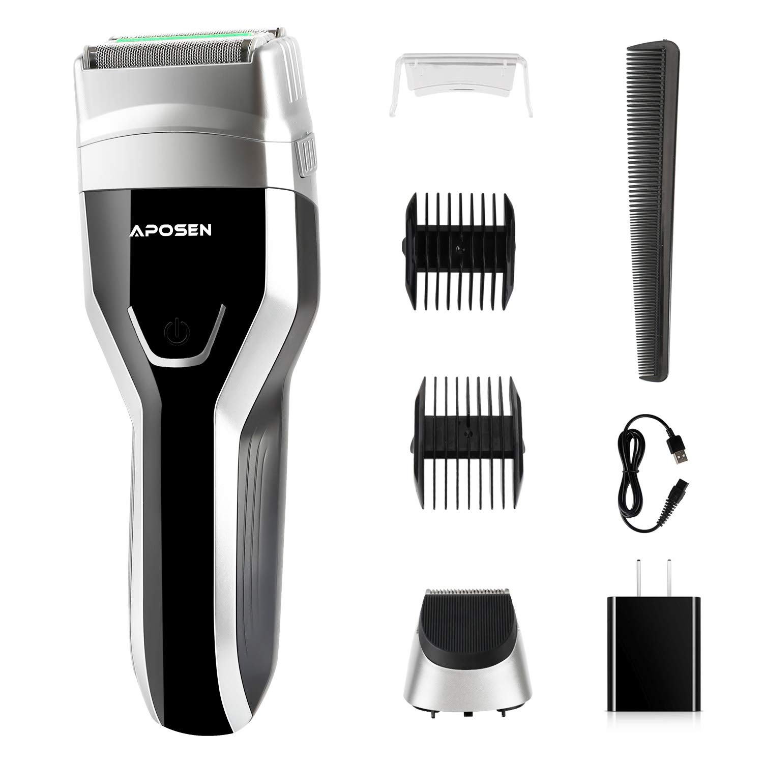 Aposen Electric Razer for Men, 2 in 1 USB Rechargeable Hair Clippers with LED Display, Wet & Dry ElectricShaver IPX7 100% Waterproof Cordless Foil Razor, G5 Black