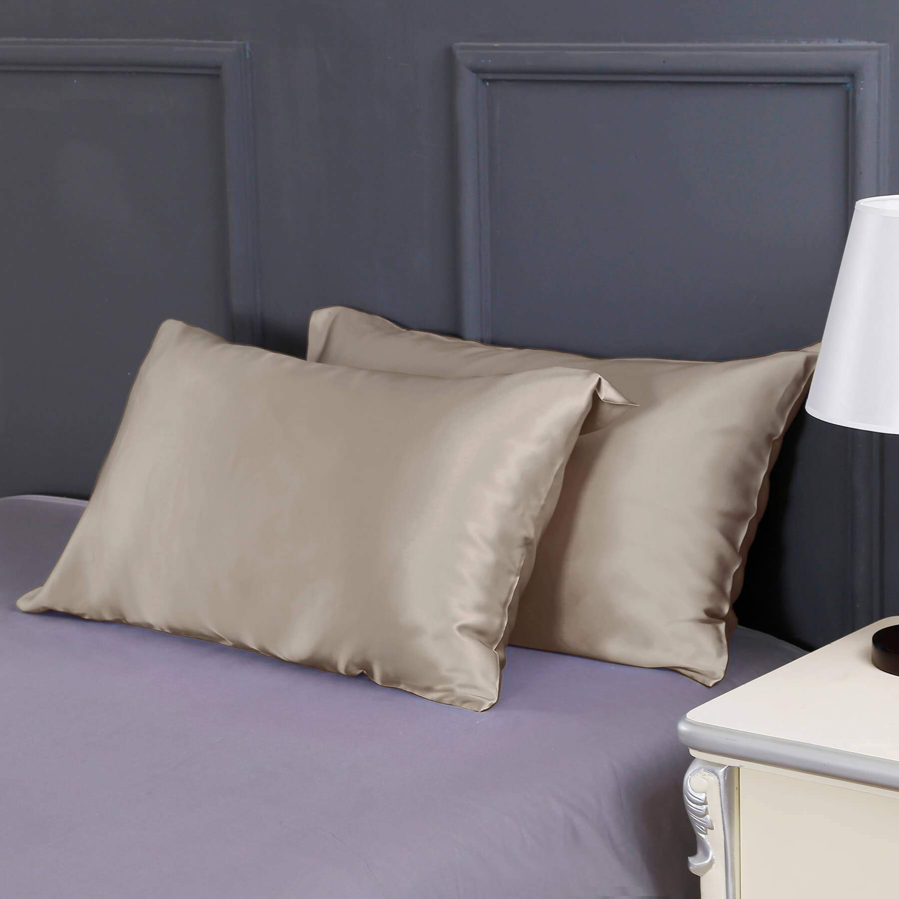 LilySilk 2pc Silk Pillowcase Set Standard Luxury Both Sides Real 19 Momme Mulberry Charmeuse Taupe Standard