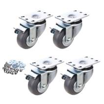 [T-REX CASTER] 3inch Heavy Duty Casters, All Swivel Plate Caster Wheels with Safety Side Locking and Rubber Plastic Load Capacity - 750 Lbs Per Caster (Pack of 4) Unversal Fit. P503S-4B