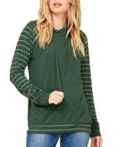 FeelinGirl Women Long Sleeve Hoodie Stripe Sweatshirt S-XXL