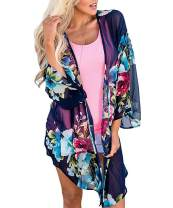 Barlver Women's Swimsuit Cover Ups for Swimwear Open Front Sheer Blouses Shawl Beachwear Kimono Floral Cardigan