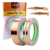 """3 Pack Copper Foil Tape,Copper Tape Conductive Adhesive Double-Sided for EMI Shielding,Slug Repellent,Paper Circuits,Electrical Repairs,Grounding(1/4"""",1/4"""",1"""")"""