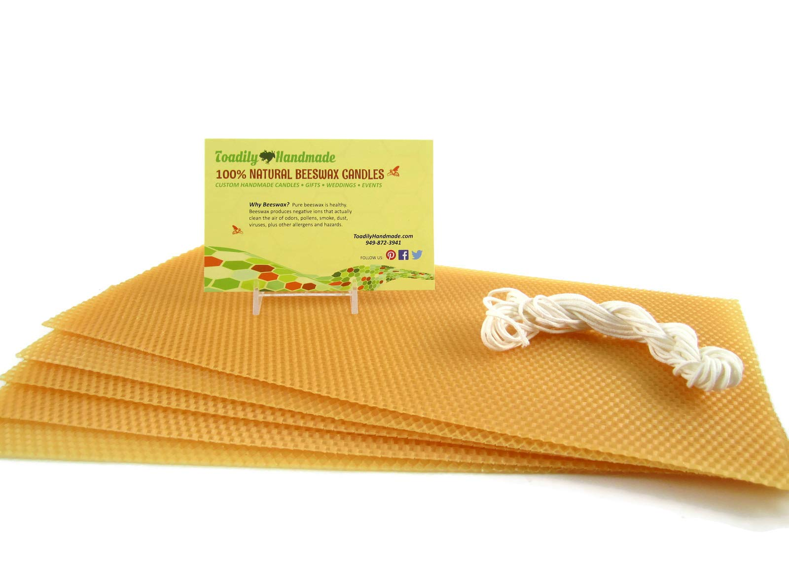 """Make Your Own Beeswax Candle Starter Kit - Includes 5 Full Size 100% Beeswax Honeycomb Sheets in Gold and Approx. 6 Yards of Cotton Wick. Each Beeswax Sheet Measures Approx. 8"""" x 16 1/4""""."""