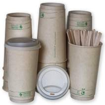 Disposable Compostable Coffee Cups with Lids, Stirrers, and Sleeves. | [50 Pack - 20 Ounce]
