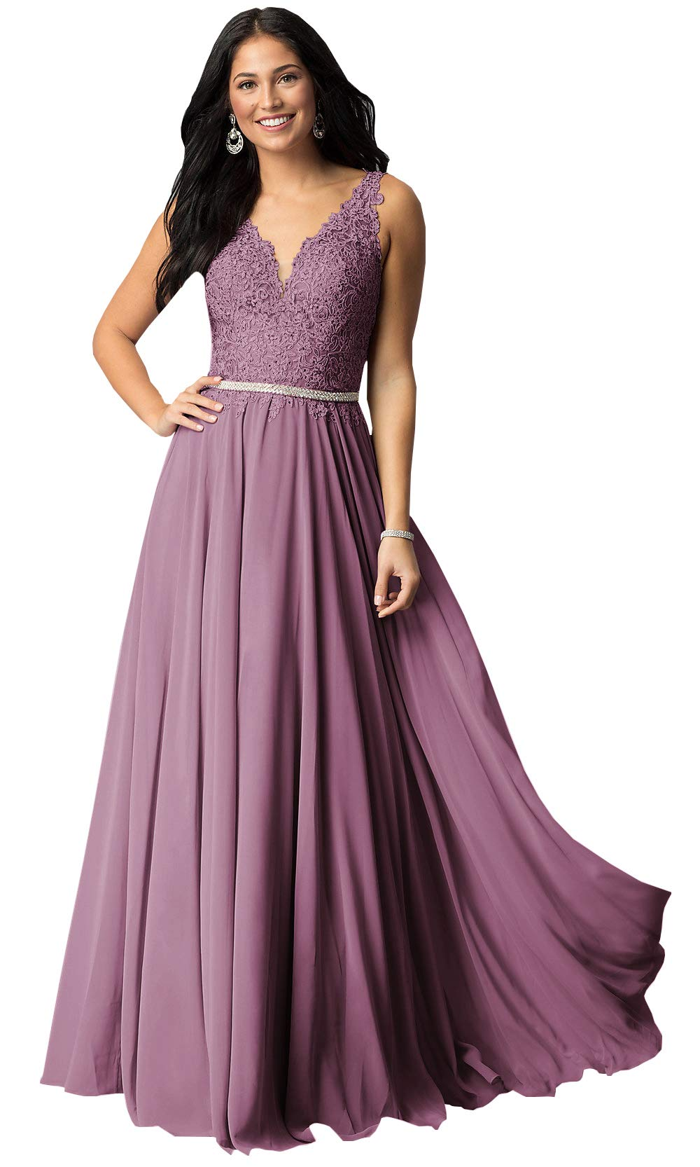 Now and Forever Plus Size A-Line Beaded Belt Bridesmaid Dresses Long for Women Formal Prom Gown (Lilac Purple,18W)