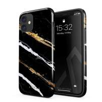 BURGA Phone Case Compatible with iPhone 11 - Golden Clues Black and Gold Onyx Stone Marble Cute Case for Girls Heavy Duty Shockproof Dual Layer Hard Shell + Silicone Protective Cover