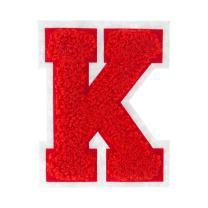 K - Red on White - 2.5 Inch Heat Seal Chenille Varsity Letter