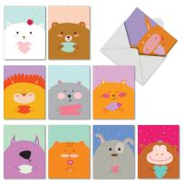 The Best Card Company - 10 Boxed Cards for Kids (4 x 5.12 Inch) - Cute Blank Cards for All Occasions - Fur You M6584OCB