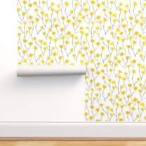 Spoonflower Peel and Stick Removable Wallpaper, Retro Bright Yellow Grey Floral Field Summer Print, Self-Adhesive Wallpaper 24in x 108in Roll