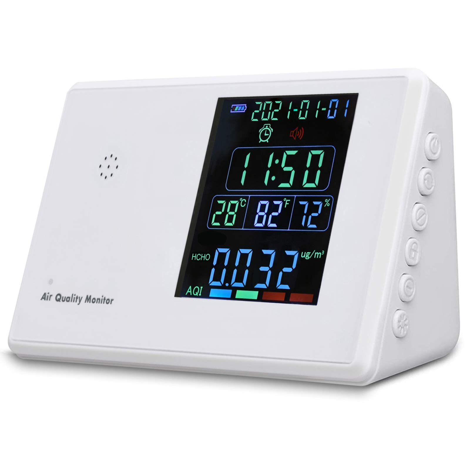 Air Quality Monitor, Formaldehyde (HCHO), Harmful Gas TVOC, Carbon Dioxide CO2, particulate Matter PM2.5/PM10, Real-time Monitoring of Indoor air Quality,2021 Latest Design
