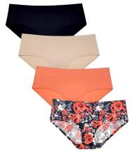 Womens Underwear Seamless No Show Bikini Hipster 4 Pack Butter Soft Panties