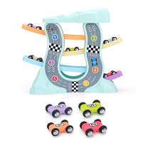 QUN FENG Toys for 3 Year Old - Ramp Racer Car Toys for 3 Year Old Boy and Girl Race Track Car Ramp Racer with 4 Mini Cars Perfect for Developing Children's Intelligence