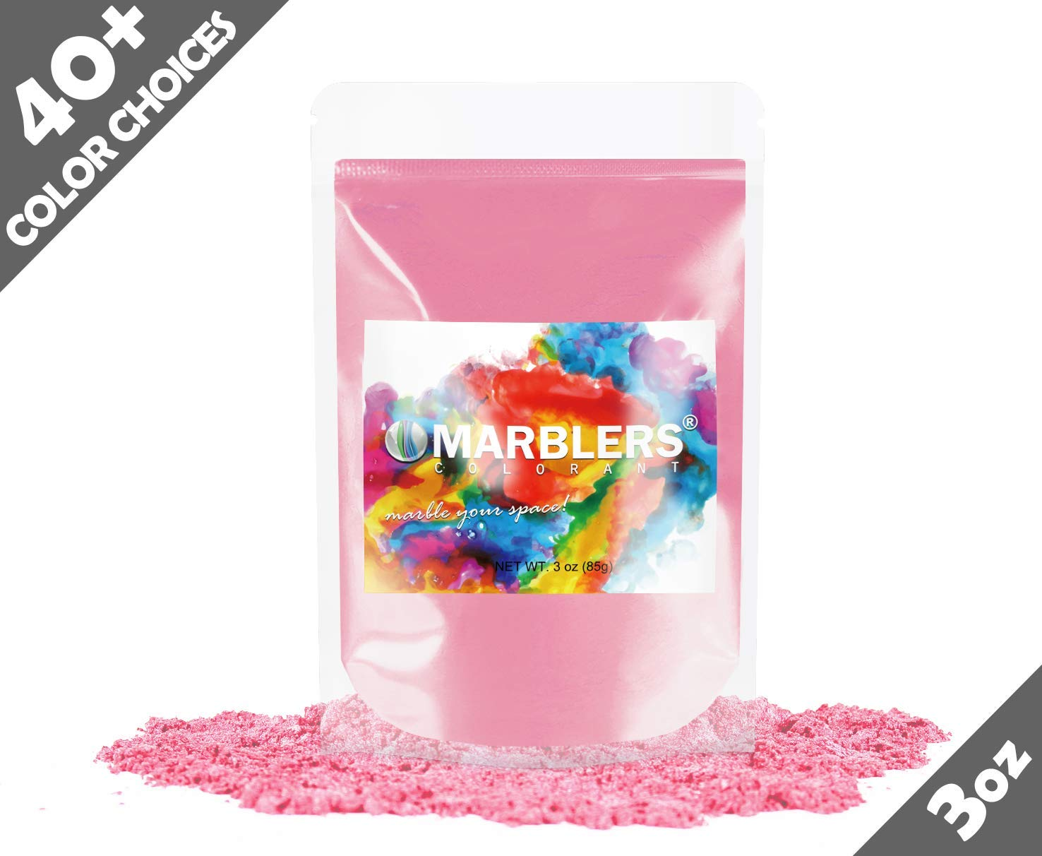 Marblers Powder Colorant 3oz (85g) [Pink]   Pearlescent Pigment   Tint   Pure Mica Powder for Resin   Dye   Non-Toxic   Great for Epoxy, Soap, Nail Polish, Cosmetics and Bath Bombs