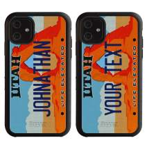 Cool Custom Hybrid Utah License Plate Case for iPhone 11 by Guard Dog – Personalized – Create Your Own License Plate on a Hybrid Phone Case (Black)