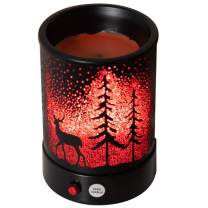 Hituiter Wax Warmer oil lamp for your scented wax melts classic Black pine forest deer 7 color lighting design home accessories…