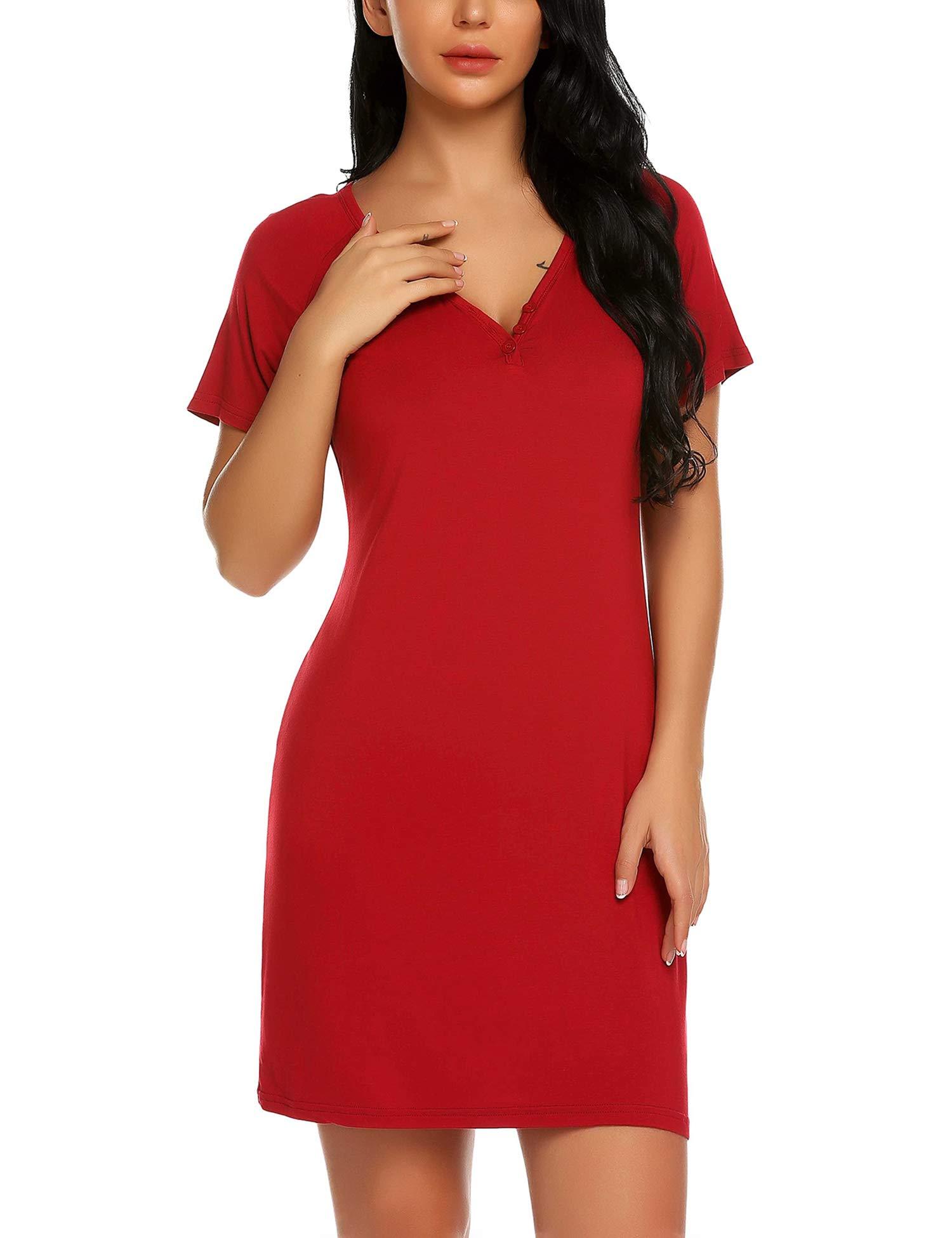 Chomoleza Women's Short Sleeve Sleepshirt V Neck Nightshirt Nightgown Sleepwear