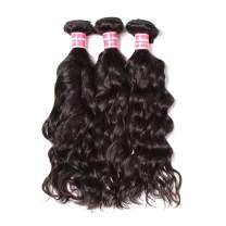 Dinoce Compatible with Longqi Brazilian Natural Wave Virgin Hair 3 Bundles Wet and Wavy Remy Human Hair Bundles 300g Natural Color Mixed Short Length 8 10 12 Inch