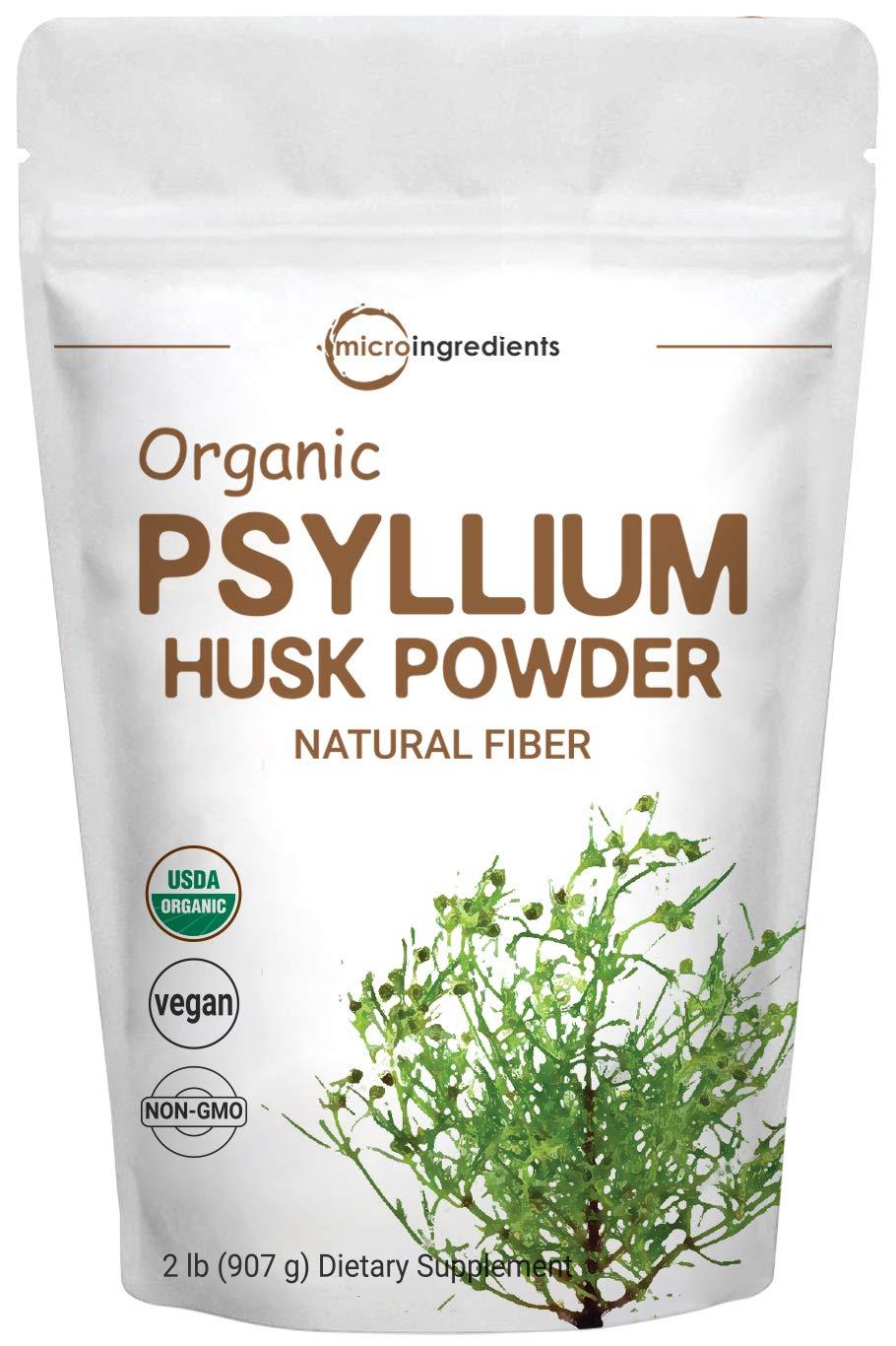 Organic Psyllium Husk Powder, 2 Pound (32 Ounce), Natural Fiber, Psyllium Husk Powder for Baking, Smoothie and Beverage, No GMOs and Vegan Friendly