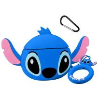 Joyleop(Q Stitch-Blue) Compatible with Airpods 1/2 Case Cover,3D Cute Cartoon Animal Funny Fun Cool Kawaii Fashion,Silicone Character Skin Keychain Ring,Girls Boys Teens Kids,Case for Airpod 1& 2
