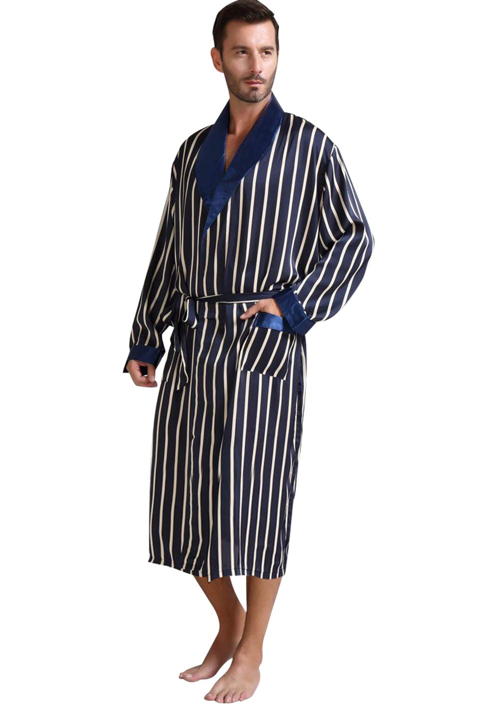Lonxu Mens Silk Satin Bathrobe Robe Nightgown_Big and Tall S~3XL Plus_Gifts