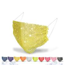 Masquerade Mask for Women Sparkly Rhinestones Mesh Mask Crystal Halloween Masks Glitter Mask Luxury Face Mask for Nightclub Party Ball Venetian Mardi Gras Costume Fancy Dress Party Supplies (Yellow)