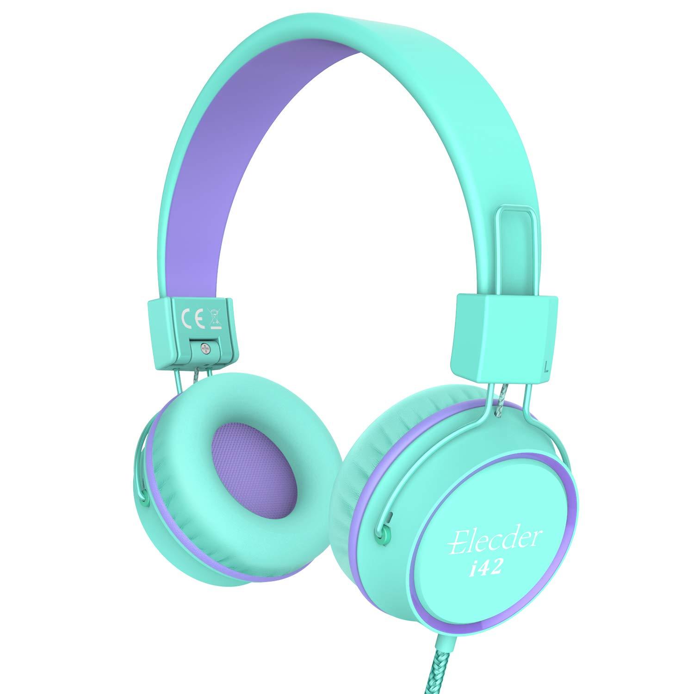 Elecder i42 Kids Headphones, Safe Volume Limited 85dB, Foldable Adjustable On Ear Headphones, 3.5mm Jack Compatible with iPad, Cellphones, Computer, MP3/4 Kindle Tablet Airplane School (Green/Purple)