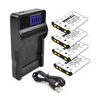 Bonacell NP-45 Battery(4 Pack) and LCD Charger Kit Comatiple with Fujifilm FinePix XP120 XP95 XP90 XP50 XP60 XP70 XP80 T350 T360 T400 T500 T510 T550 T560 JX500 JX520 JX550 JX580 and More