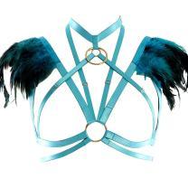 Feather Epaulets Tops Wings Body Harness Gothic Lingerie Strap Bralette Burning Man Art Festival Clothing