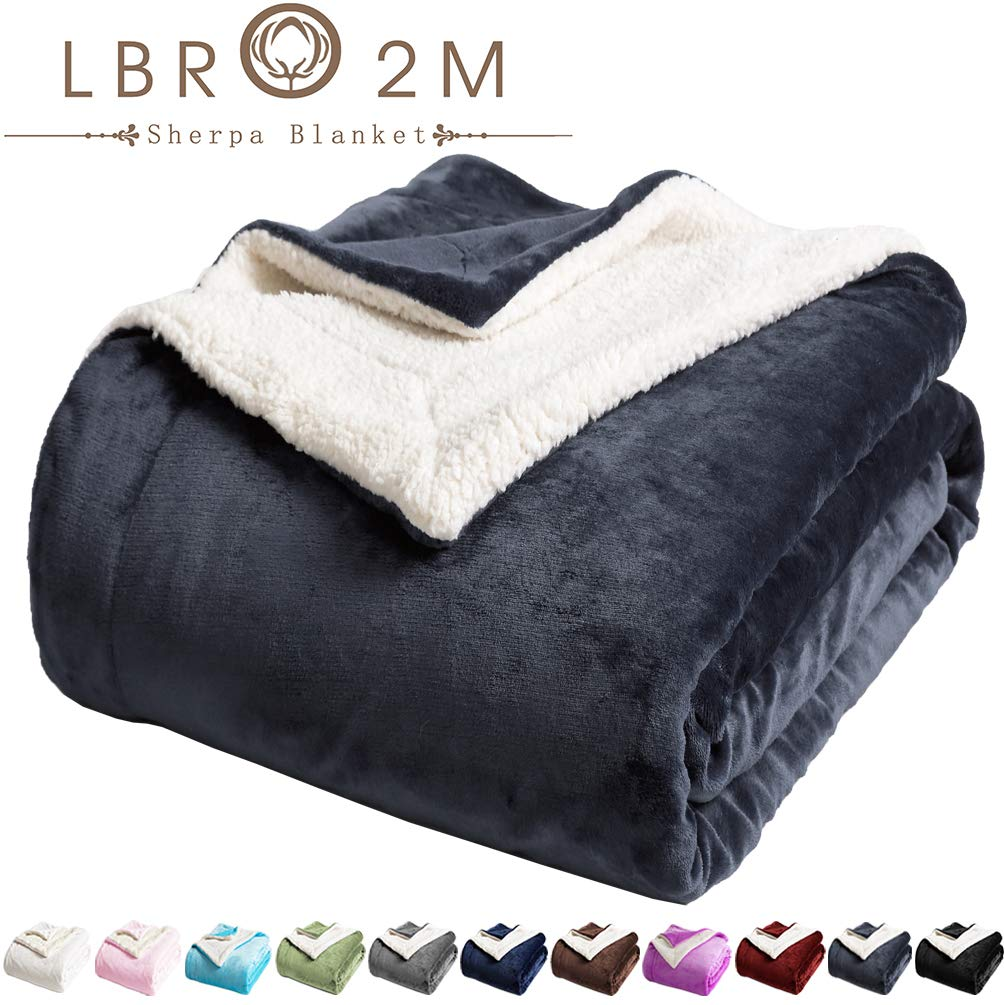 LBRO2M Sherpa Bed Blanket Super Soft Fuzzy Plush Warm Cozy Fluffy Microfiber Couch Throw Velvet Fleece Double Reversible Luxurious Blankets (Dark Grey, King(90x104 Inches))