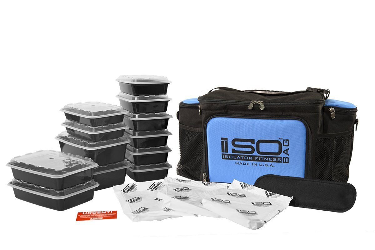 Meal Prep Lunch Box ISOBAG - Large Insulated 6 Meal Prep Bag/Cooler With 12 Containers, 3 Ice Packs & Shoulder Strap (Black/Light Blue Accent) - MADE IN USA