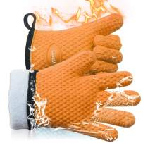 Loveuing Kitchen Oven Gloves - Silicone and Cotton Double-Layer Heat Resistant Oven Mitts/BBQ Gloves/Grill Gloves - Perfect for Baking and Grilling - 1 Pair (One Size Fits Most, Orange)