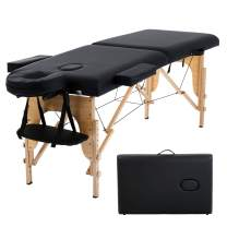 """HCB Portable Massage Table SPA Massage Bed Foldable 73"""" Adjustable Height 2 Folding SPA Salon Bed 450 LBS Capacity Carrying Case with Dust Bag (Black)"""