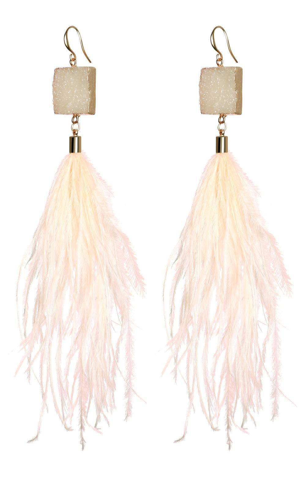 Badu Women Feather Earrings Long Tassel Bohemian Jewelry White Gold Wedding Accessories