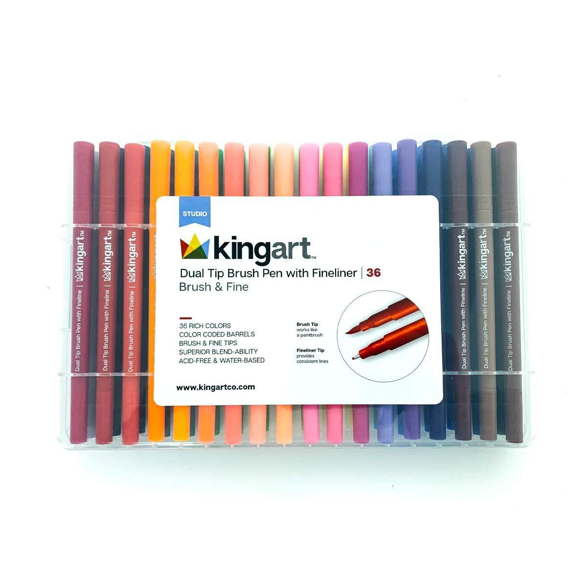 KingArt 422-36 Studio Fineliner Dual Tip Brush Pen, 36 ea, Unique Colors Piece