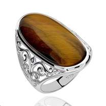 GemsChest Sterling Silver Magnificent Oval Shaped Tiger Eye Solitaire Ring