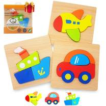 Zocita 3-Pack Chunky Jigsaw Puzzles, Boys&Girls Educational Wooden Puzzles Toy Gift with Vibrant Colors for Toddlers 1 2 3 Years Old(Vehicle)