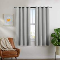 jinchan Blackout Curtains for Bedroom Thermal Insulated Room Darkening Triple Weave Window Curtains for Living Room 63 inches Long 2 Panels Grey One Bonus White Sheer Curtain Included