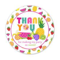 Kreatwow 48 Pack Tutti Frutti Party Supplies Fruit Thank You Sticker Labels Tutti Fruity Stickers for Party Favors Birthday Party Baby Shower Supplies