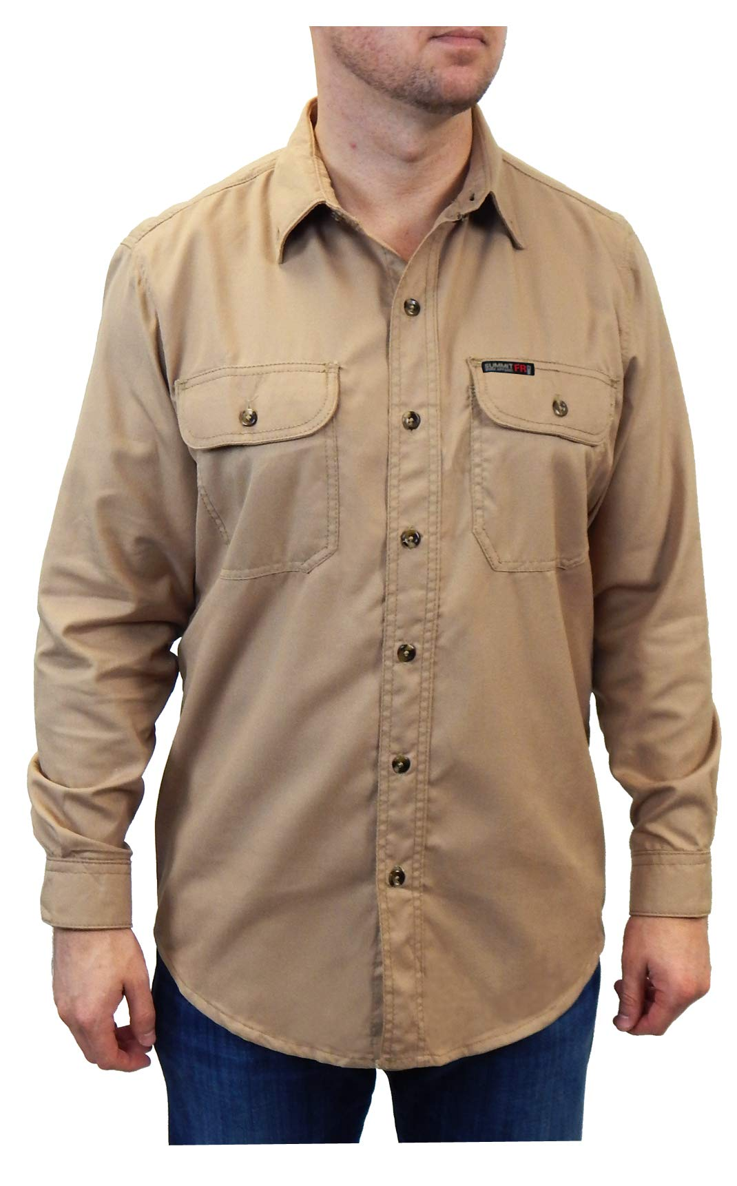 Summit BreezeFlame Resistant Vented Back Button Front Shirt Tan 4 Extra Large Tall