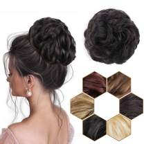 AISI BEAUTY 1PCS Messy Buns Scrunchies Synthetic Messy Bun Hair Piece Scrunchies Updo Chignon Extension for Women Girls (Black Brown)
